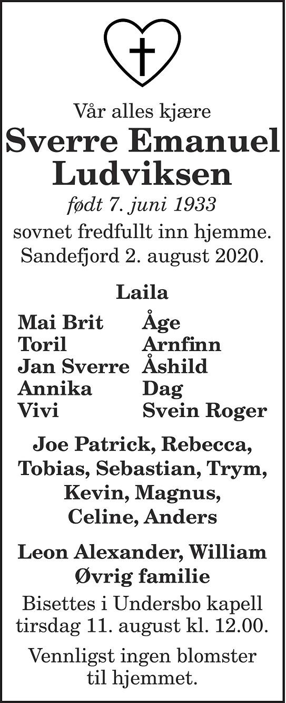 Sverre Emanuel Ludviksen Dødsannonse