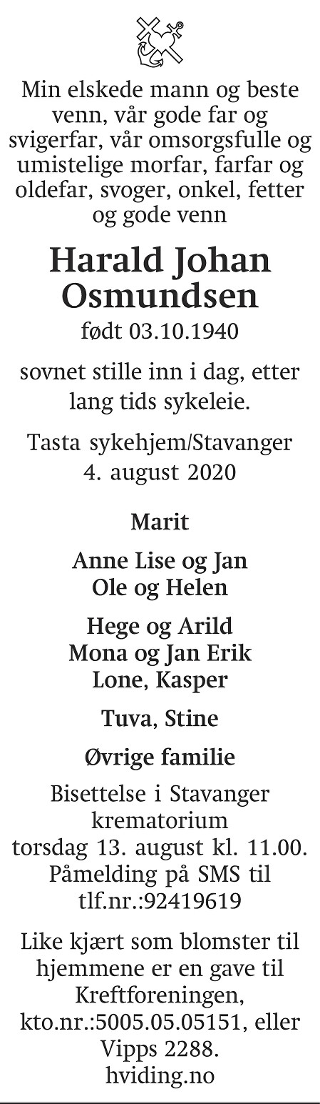 Harald Johan Osmundsen Dødsannonse