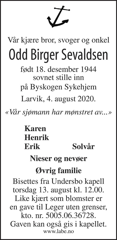 Odd Birger Sevaldsen Dødsannonse