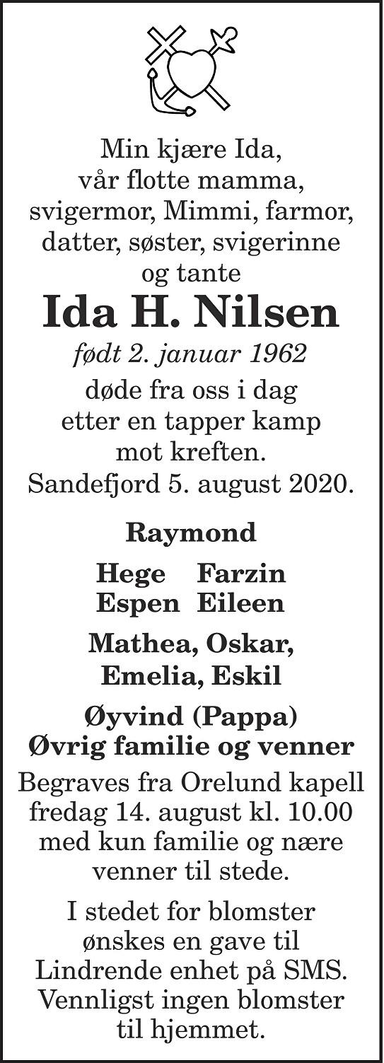 Ida H. Nilsen Dødsannonse