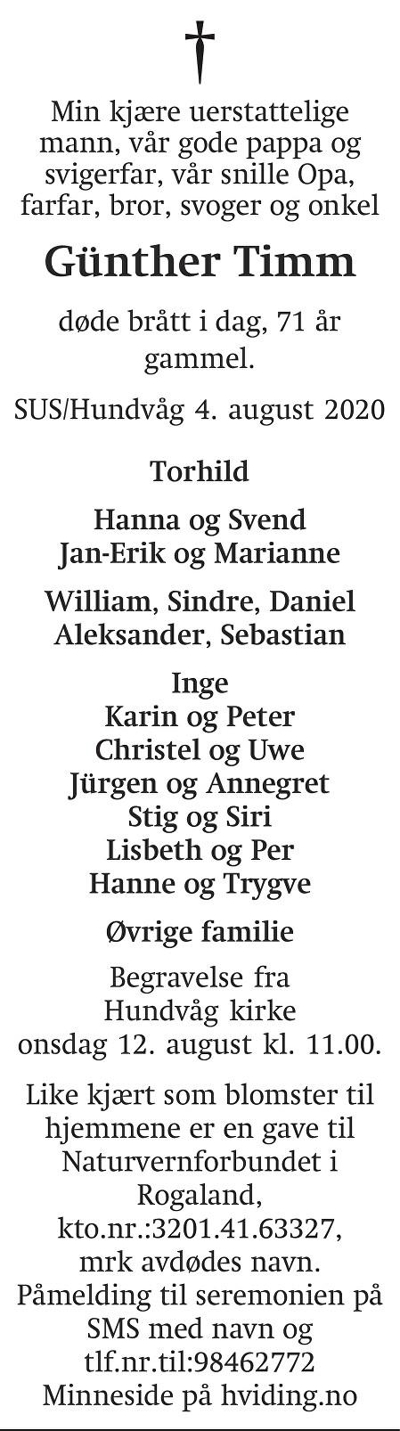 Günther Timm Dødsannonse