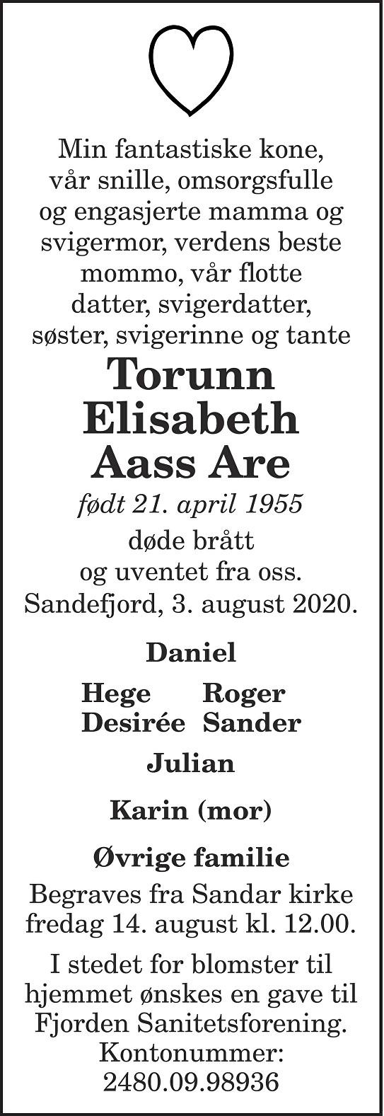 Torunn Elisabeth Aass Are Dødsannonse
