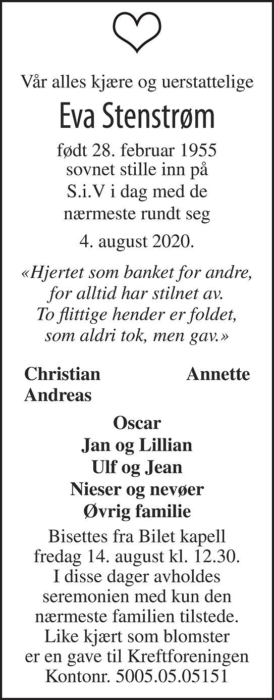 Eva Stenstrøm Dødsannonse