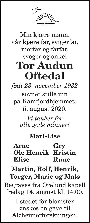 Tor Audun Oftedal Dødsannonse