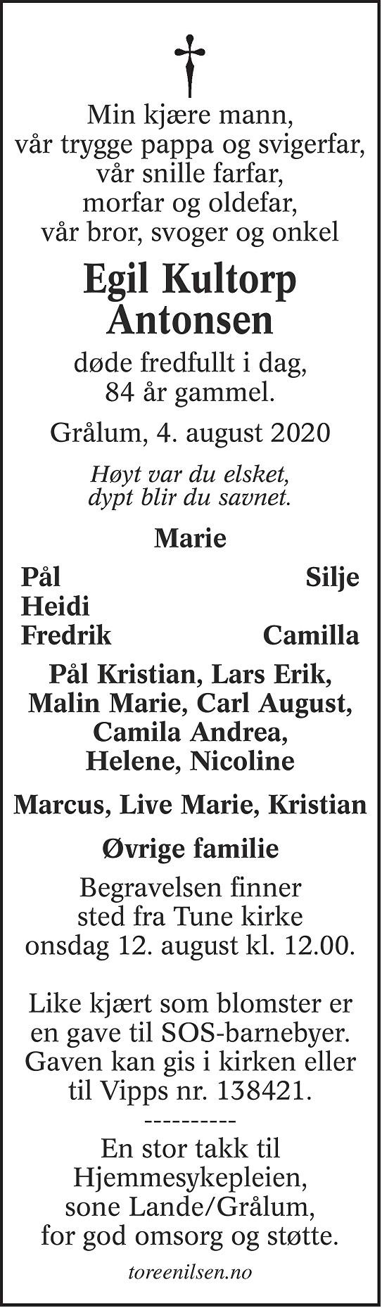 Egil Kultorp Antonsen Dødsannonse