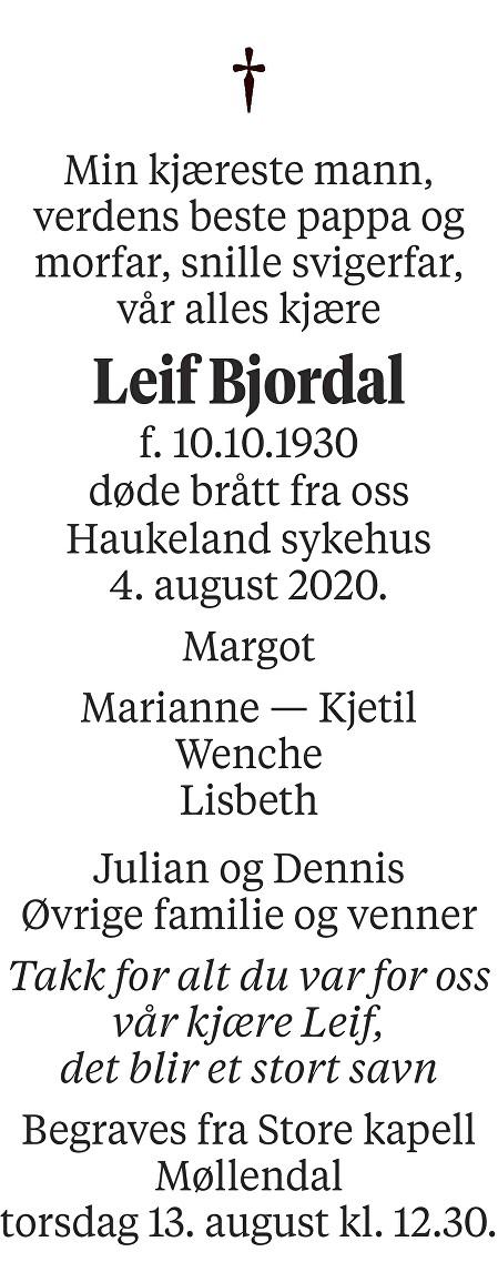 Leif Bjordal Dødsannonse