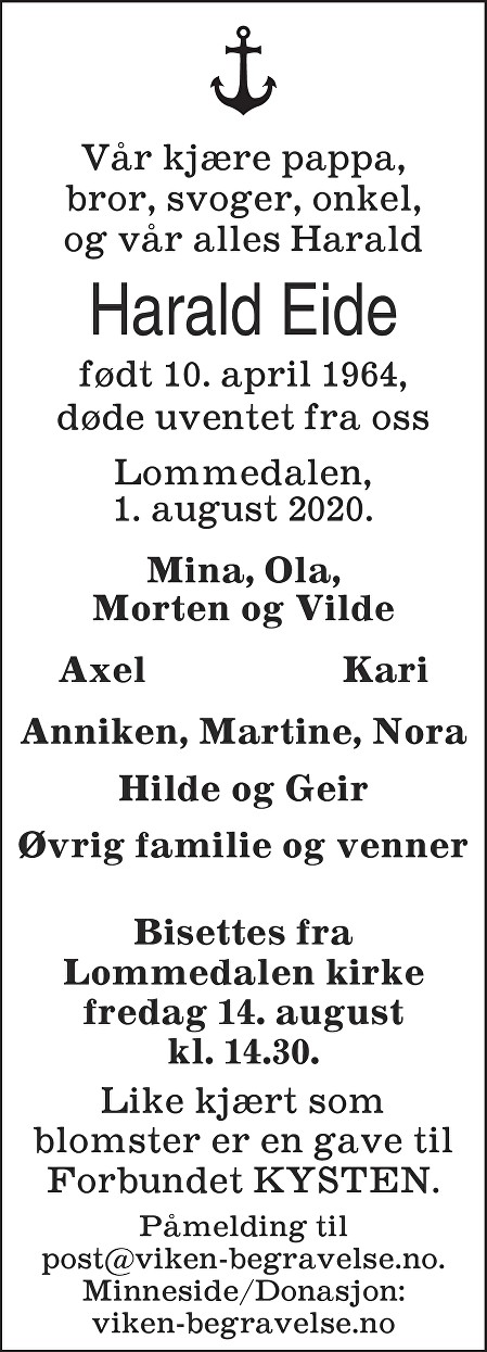 Harald Eide Dødsannonse