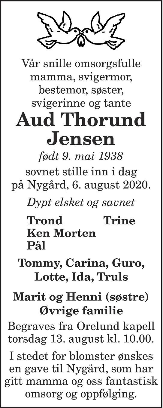 Aud Thorund Jensen Dødsannonse