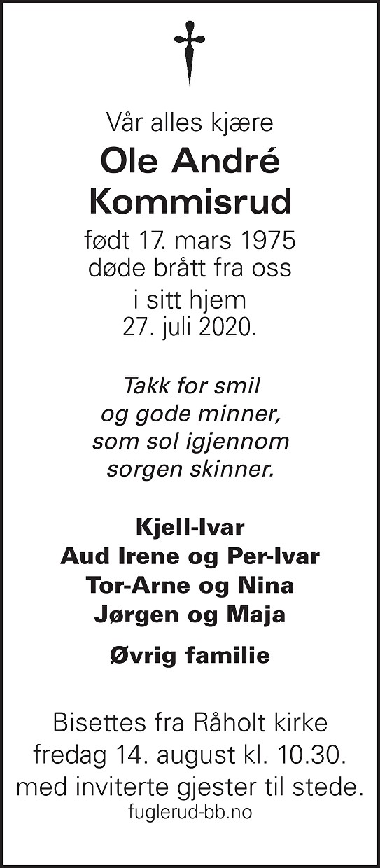 Ole André Kommisrud Dødsannonse