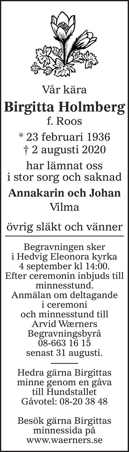Birgitta Holmberg Death notice