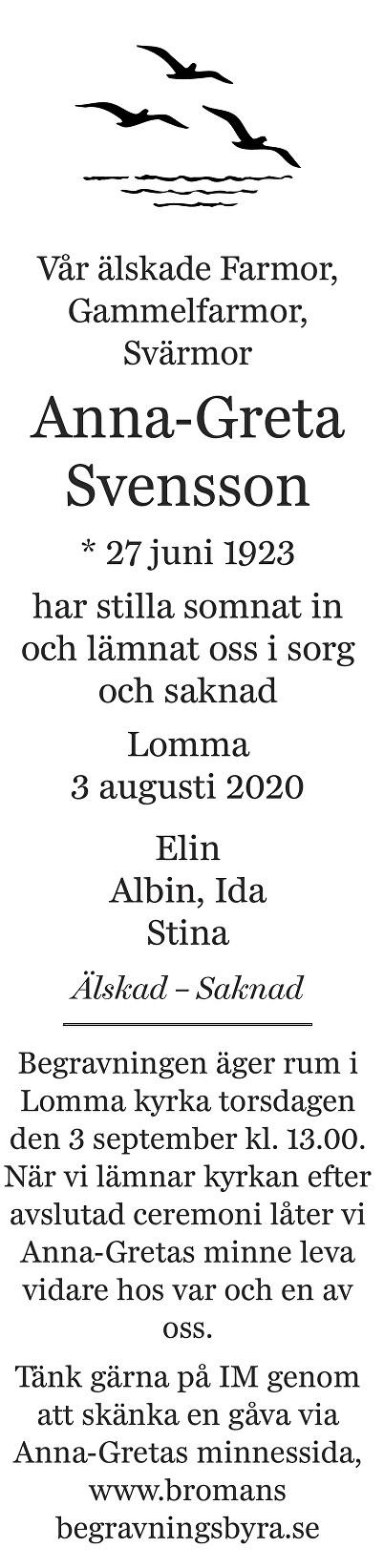 Anna-Greta Svensson Death notice