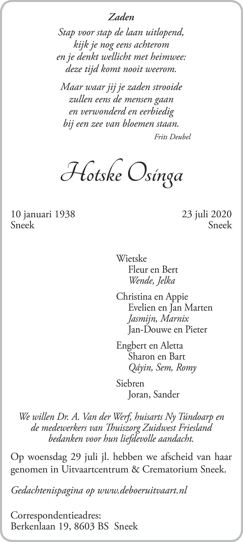 Hotske Osinga Death notice