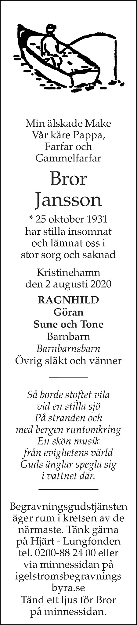 Bror Jansson Death notice