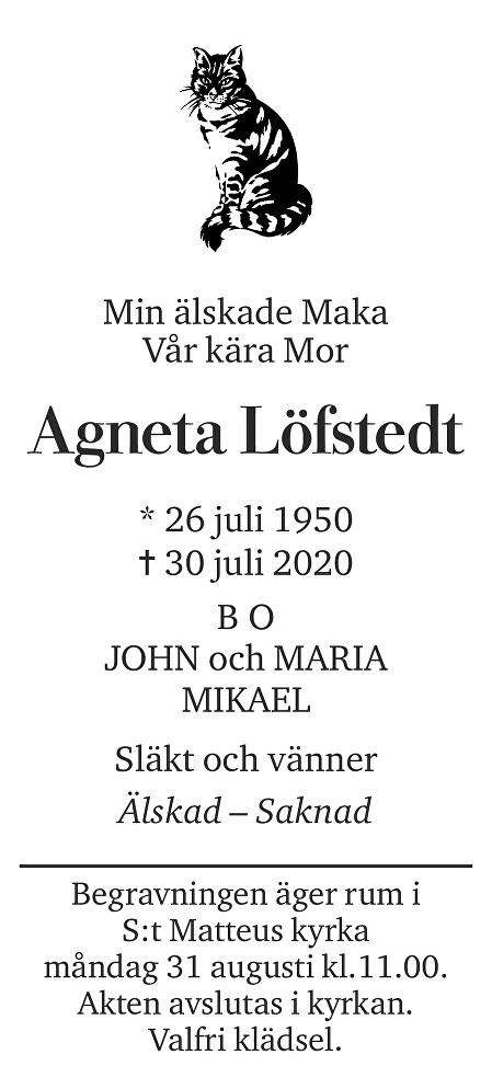 Agneta Löfstedt Death notice