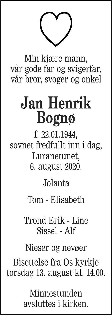 Jan Henrik Bognø Dødsannonse