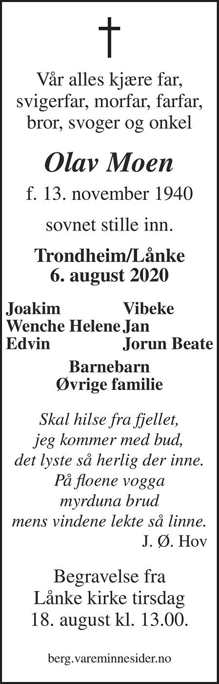 Olav Moen Dødsannonse