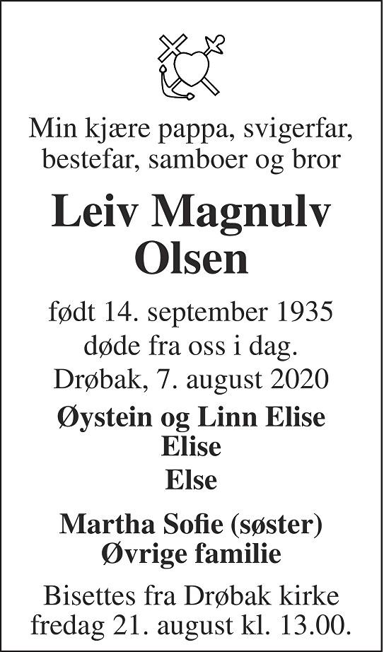 Leiv Magnulv Olsen Dødsannonse