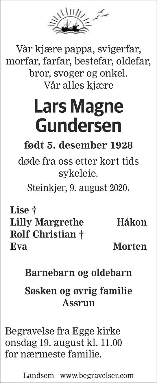 Lars Magne Gundersen Dødsannonse