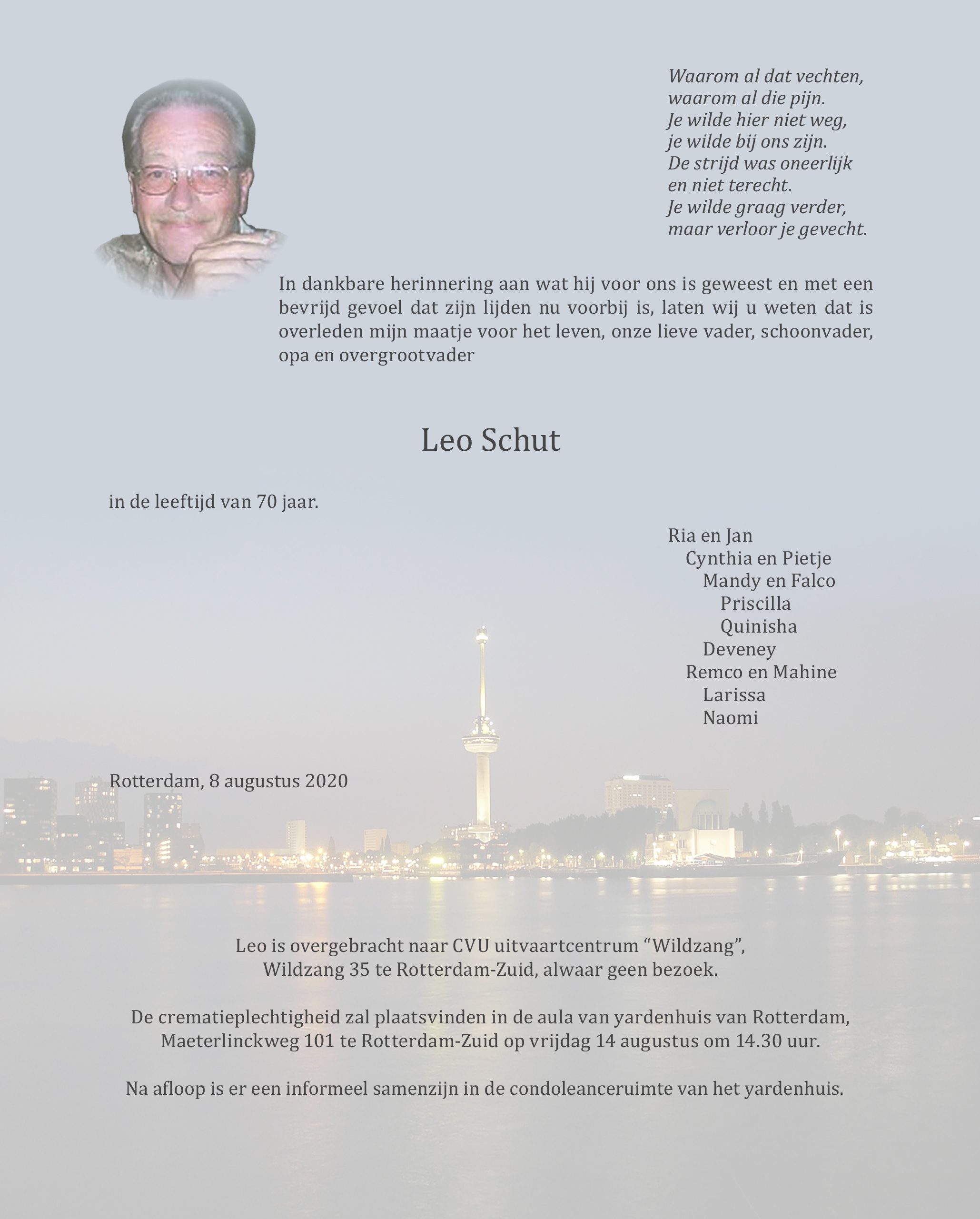 Leo Schut Death notice
