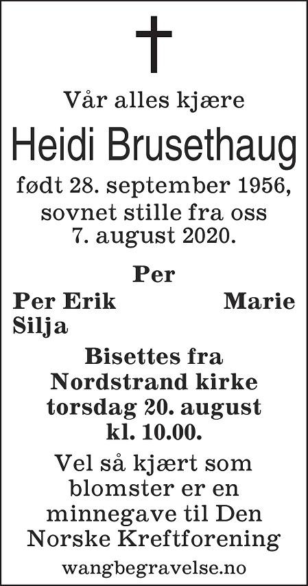 Heidi Brusethaug Dødsannonse
