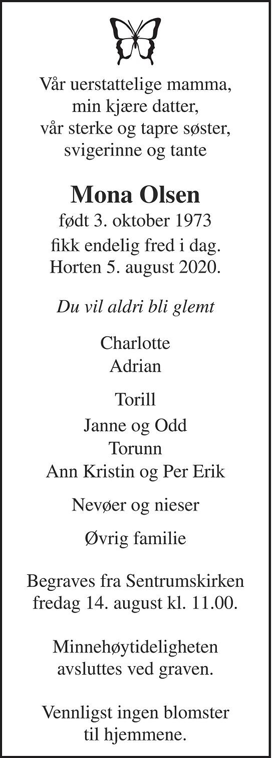 Mona Olsen Dødsannonse