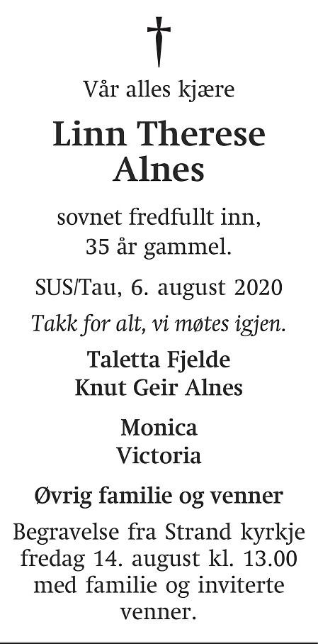 Linn Therese Alnes Dødsannonse
