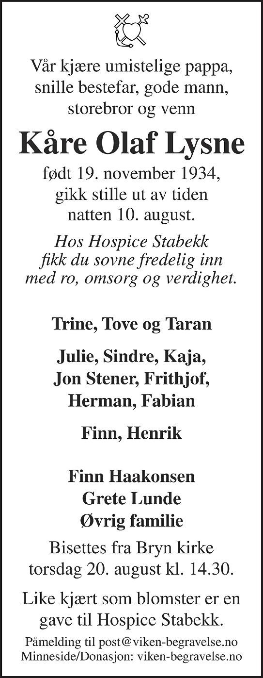 Kåre Olaf Lysne Dødsannonse