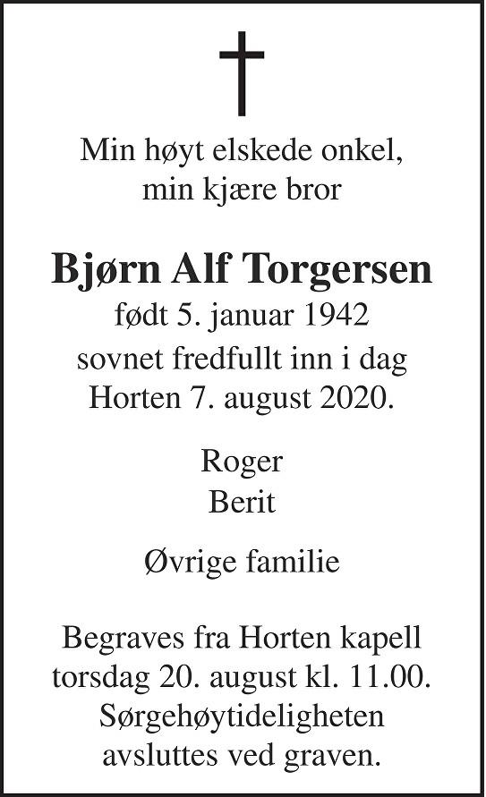 Bjørn Alf Torgersen Dødsannonse