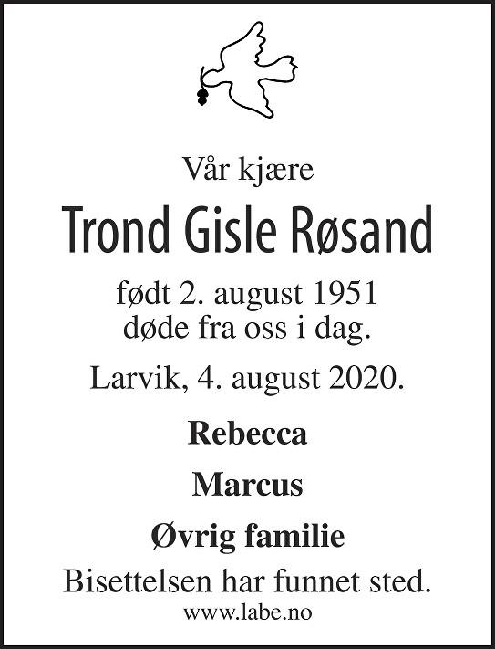 Trond Gisle Røsand Dødsannonse