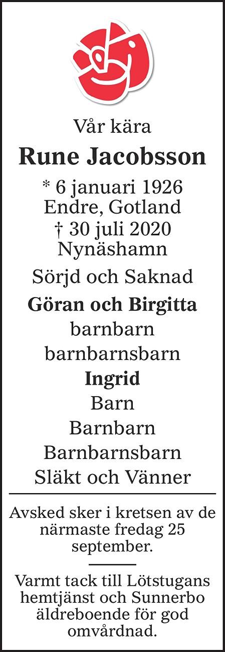 Rune  Jakobsson Death notice
