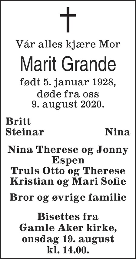 Marit Grande Dødsannonse