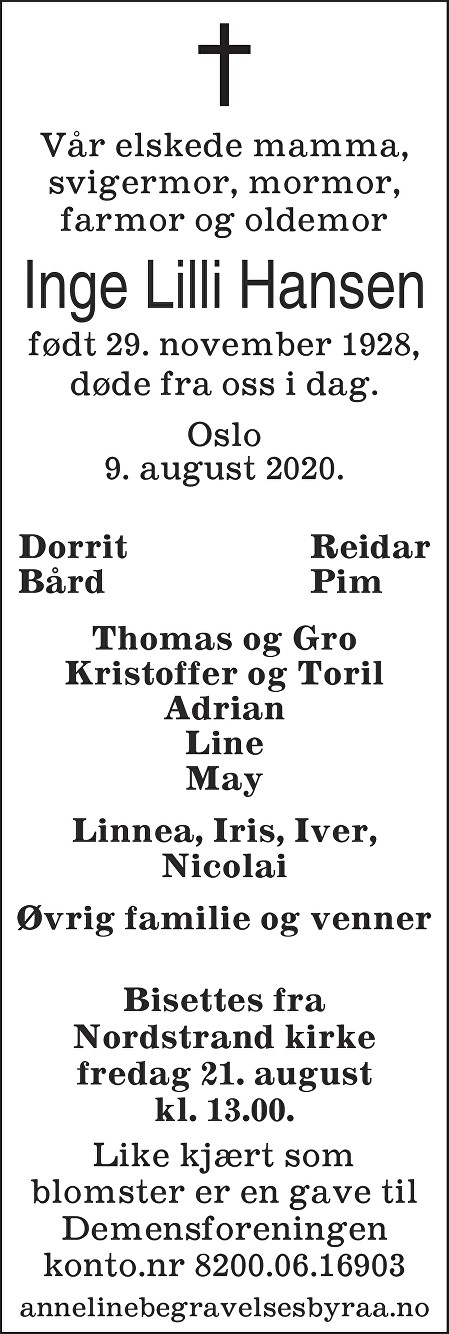 Inge Lilli Hansen Dødsannonse