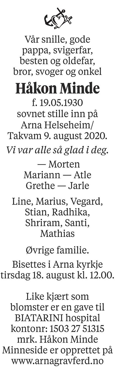 Håkon Minde Dødsannonse