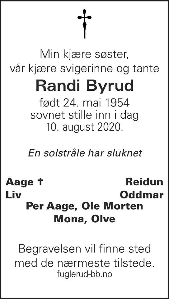 Randi Byrud Dødsannonse