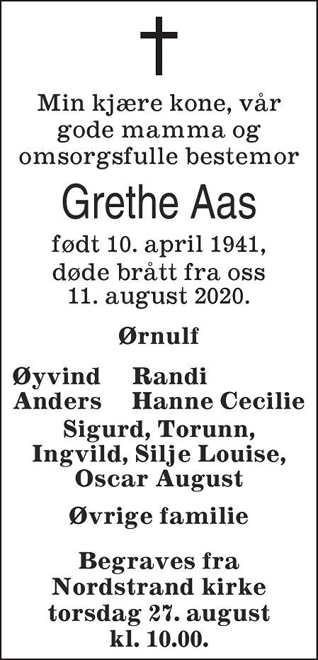 Grethe Aas Dødsannonse