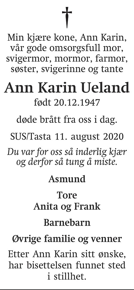 Ann Karin Ueland Dødsannonse