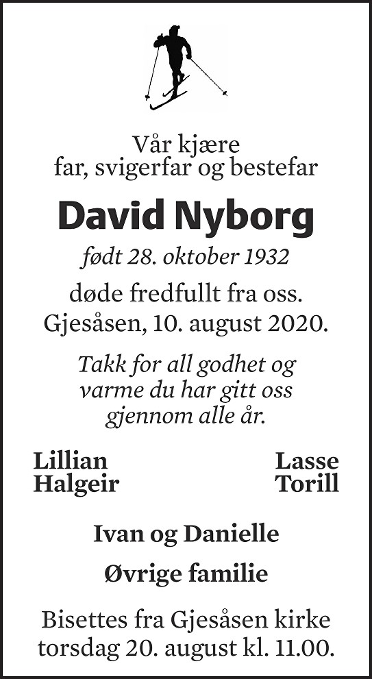 David Nyborg Dødsannonse