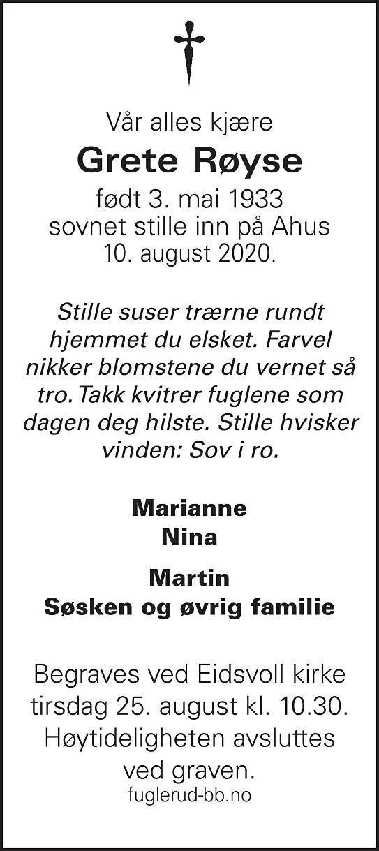 Grete Røyse Dødsannonse