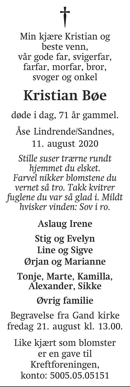 Kristian Bøe Dødsannonse