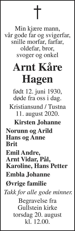 Arnt Kåre Hagen Dødsannonse