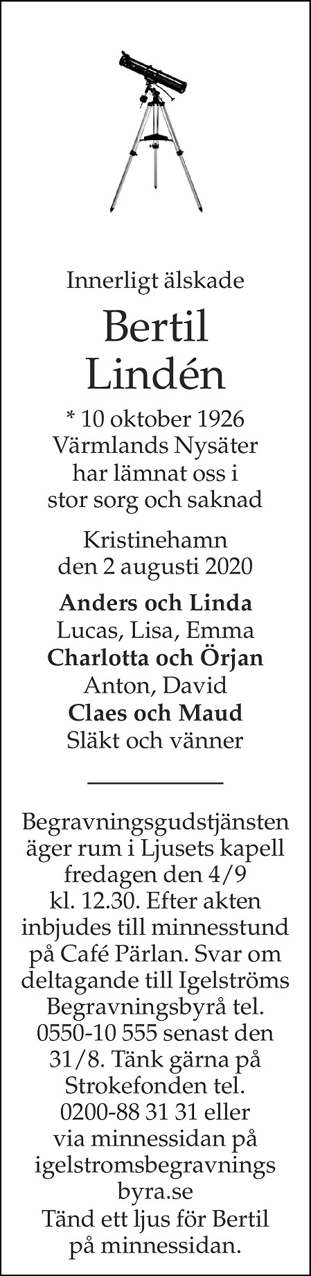 Bertil Lindén Death notice