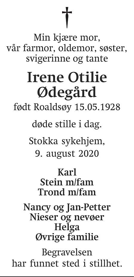 Irene Otilie Ødegård Dødsannonse