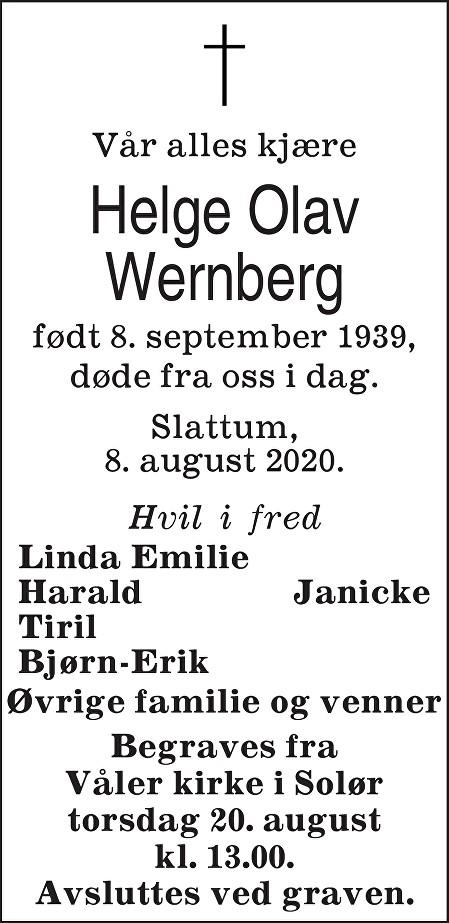 Helge Olav Wernberg Dødsannonse