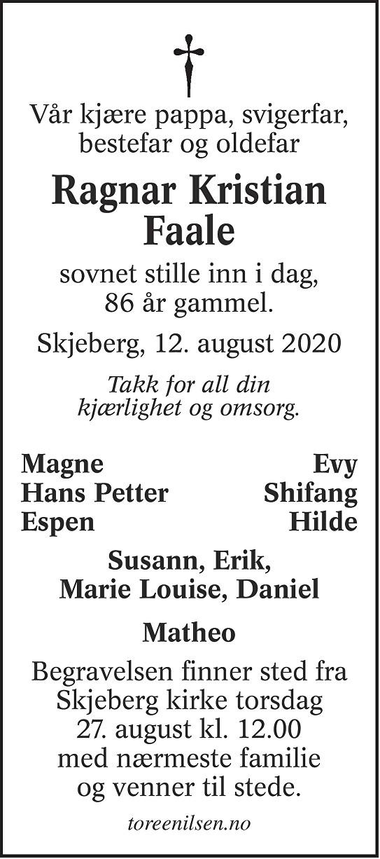 Ragnar Kristian Faale Dødsannonse