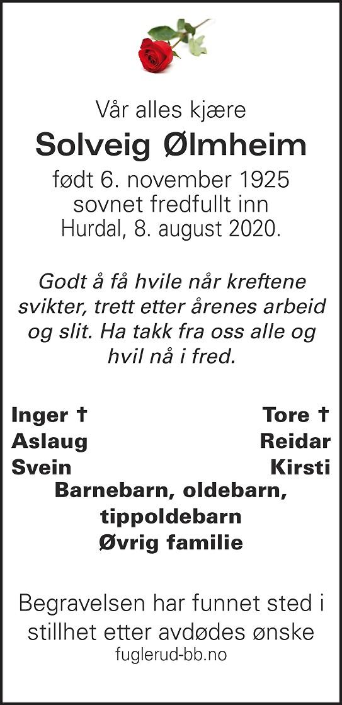 Solveig Ølmheim Dødsannonse