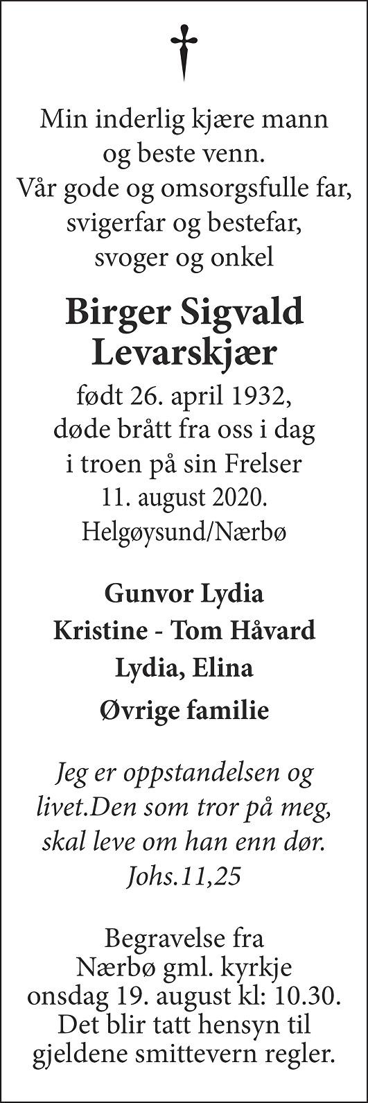 Birger Sigvald Levarskjær Dødsannonse