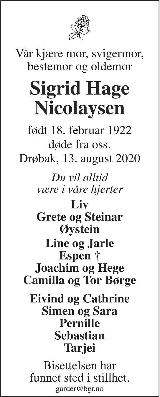 Sigrid Hage Nicolaysen Dødsannonse