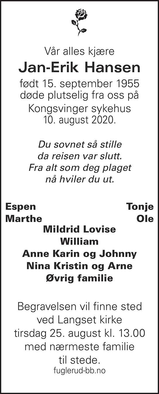 Jan-Erik Hansen Dødsannonse