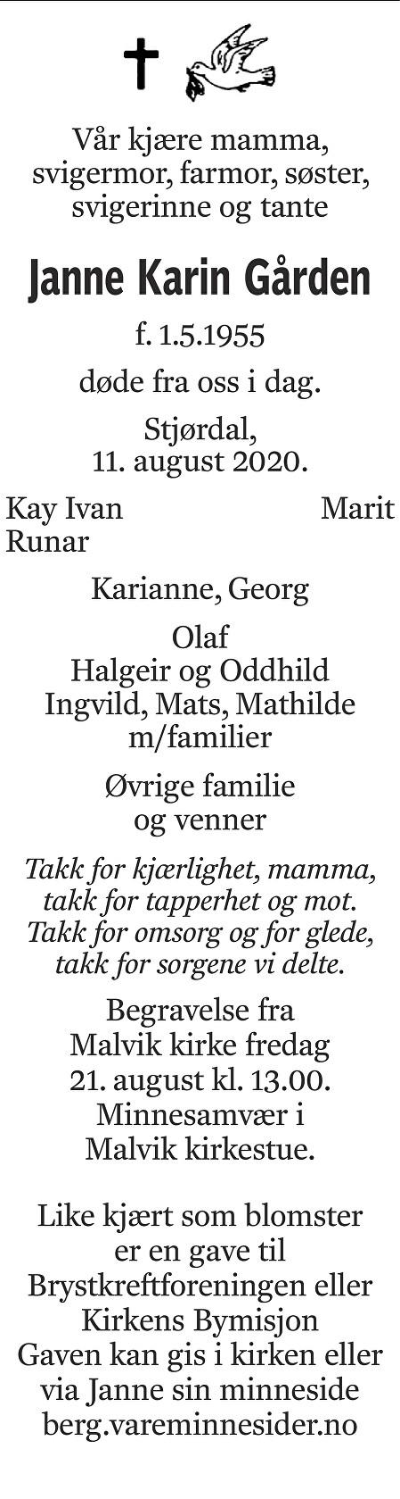 Janne Karin Gården Dødsannonse