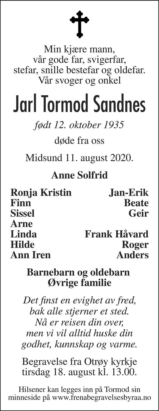 Jarl Tormod Sandnes Dødsannonse
